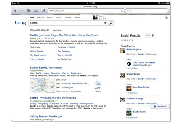 DNP Bing brings new social sidebar to iPad users