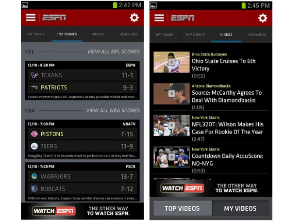Espn Brings New Interface To Scorecenter For Android And Ios Engadget