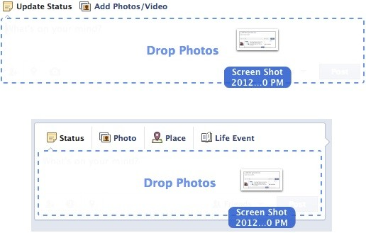Facebook lets us draganddrop to upload photos, toys with a simplified Timeline