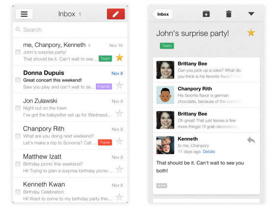 Gmail for iPad, iPhone and iPod touch hits version 20 all new look, multiple account support