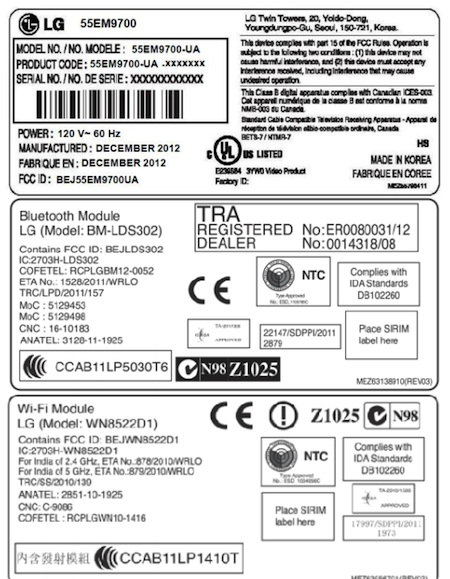 LG's first 55inch OLED HDTV pops up in the FCC's database