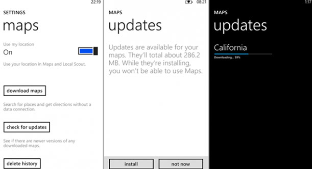 DNP  Windows Phone 8 mapping update available,