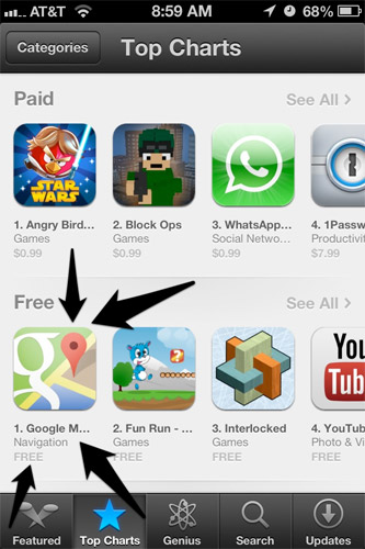 Google Maps notches over 10 millions downloads on iOS App Store