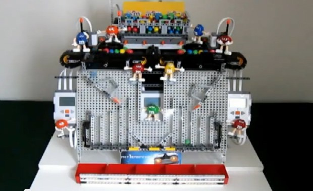DNP Legopowered robot sorts and serves M&Ms by color video
