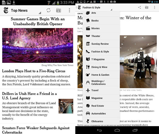 NYTimes for Android updated for tablets, scales for different screen sizes