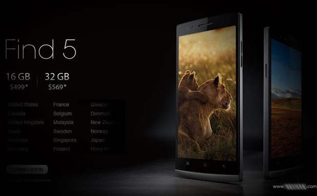 Oppo's Find 5 to hit several international markets in Q1 2013, adds a $  569 32GB model