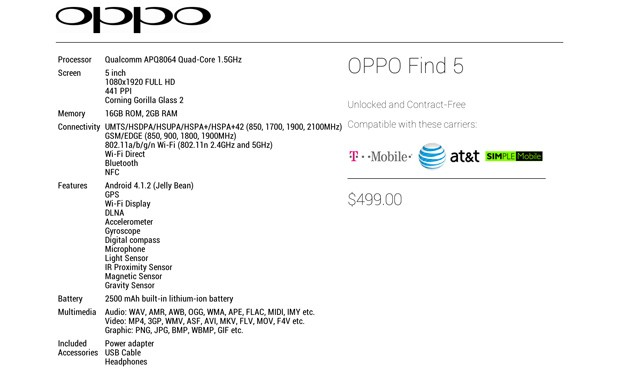 Oppo Find 5 spec sheet  listed for $499 unsubsidized