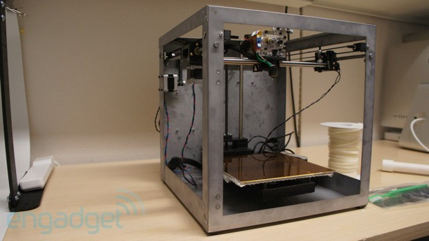 Solidoodle 3 is an $  800 3D printer that you can stand on, we go hands and feet on