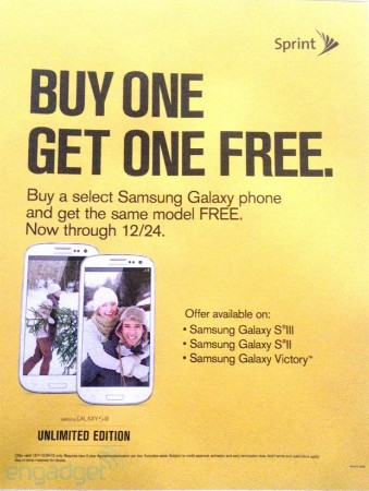 DNP Leaked Sprint holiday ad outs buy one get one offer on a trio of Samsung smartphones