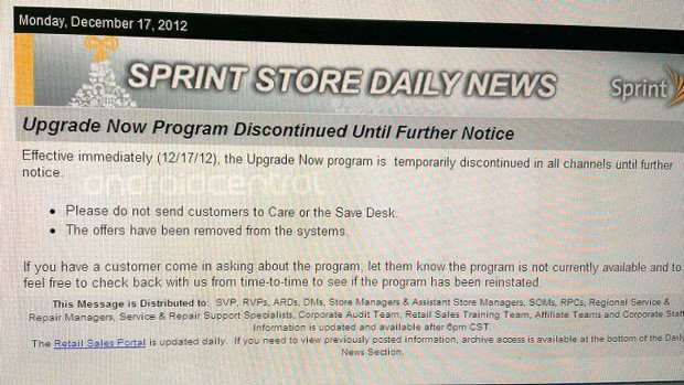 Sprint pauses its Upgrade Now program