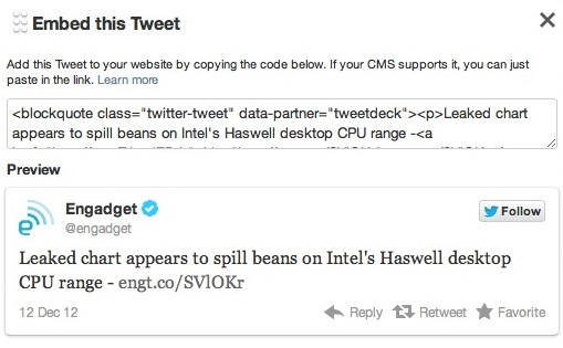 Tweetdeck for the web and Chrome gains ability to embed tweets, not much else
