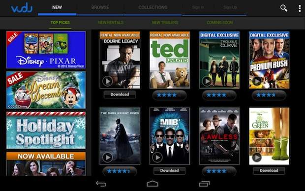 Vudu launches movie streaming / downloads to Android tablets, Xbox 360 app supports 1080p