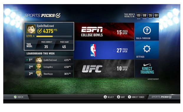 Xbox New Sports Picks app, ESPN and NBA Game Time Smartglass integration now available for Xbox Live, gamers rejoice!