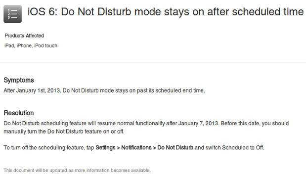 Apple acknowledges Do Not Disturb bug, says it will magically fix itself on January 7th