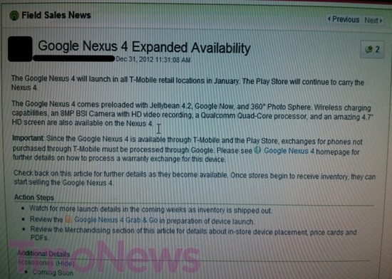 Nexus 4 coming to all TMobile locations later this month