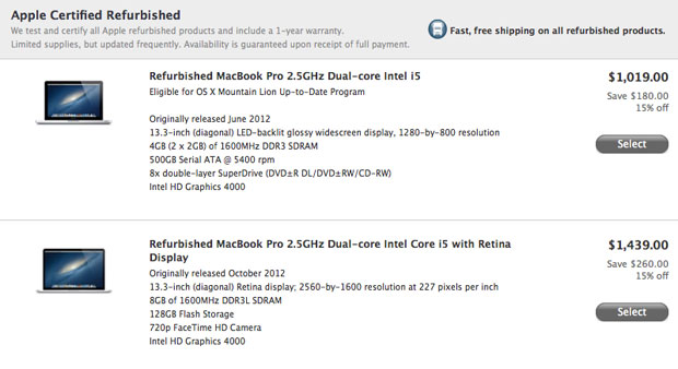 Apple adds refurbished 13-inch MacBook Pro to online store, Retina model starting at $1,439