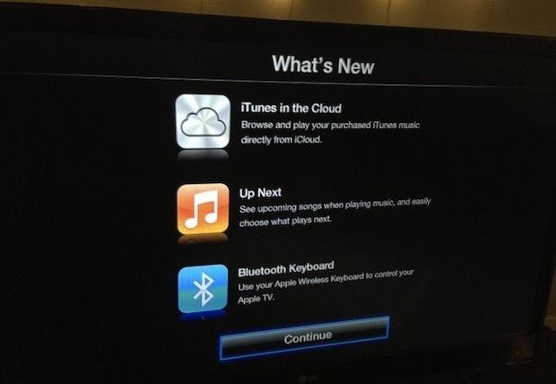 Apple TV software update bring Bluetooth keyboard support, music from iTunes in the Cloud