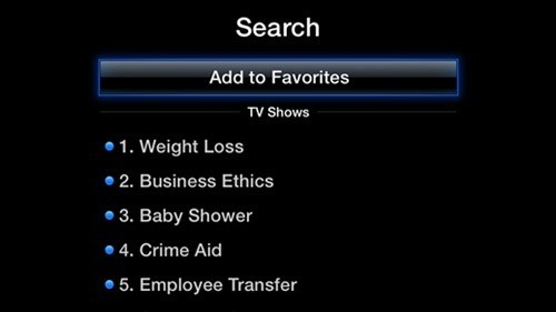 aTV Flash 21 black offers very specific favorites, TV shows in playlists