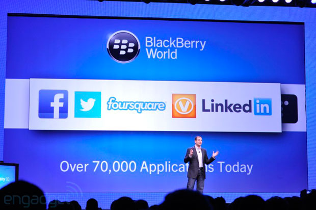 Twitter, Facebook, LinkedIn and Foursquare shown on BlackBerry 10, integrated into OS