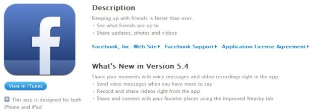 Facebook updates iOS app with voice messages, video recordings