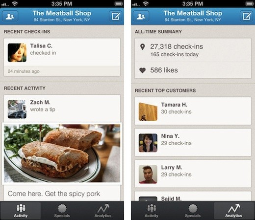 Foursquare gives business owners their own app to manage specials, track customer visits
