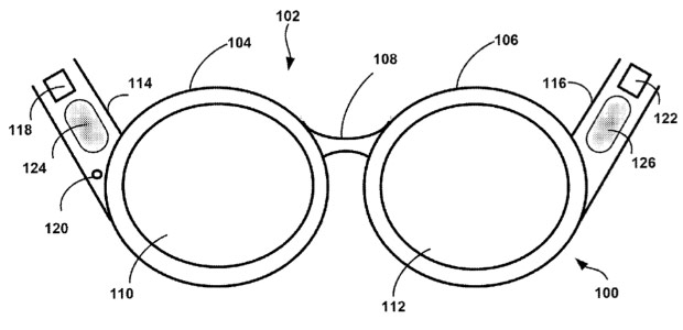 Google patent application reveals Glasslike device with boneconduction audio