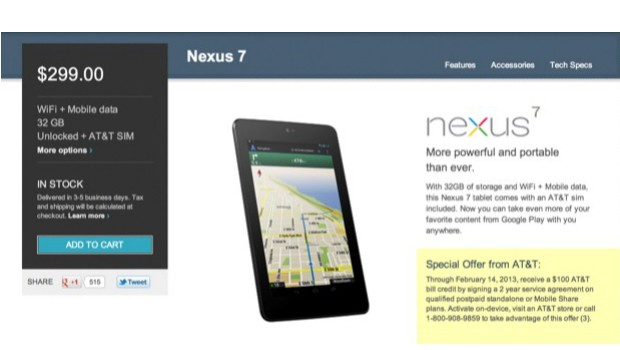 DNP AT&T offering $100 credit to HSPA Nexus 7 owners in exchange for a twoyear service agreement