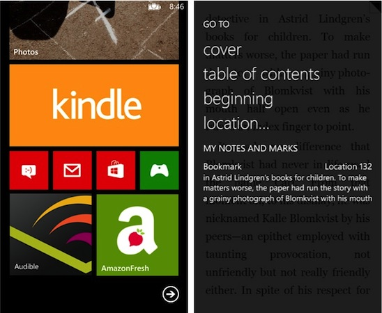 Amazon adds Windows Phone 8 support to Kindle app, keeps the Live Tiles going