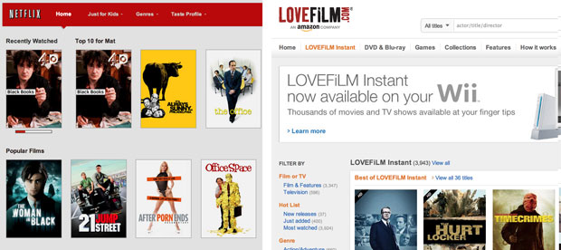 Netflix UK bests Lovefilm Instant on TV shows, but lacks movie clout