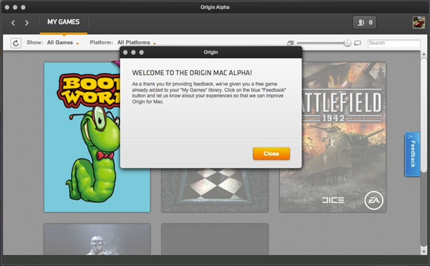 Origin for Mac enters open Alpha, testers gifted with free copy of Bookworm
