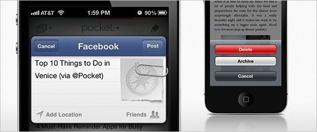 Pocket for iOS gets native sharing to Facebook, easier option to delete articles