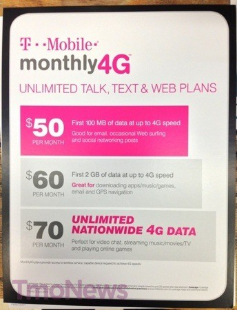TMobile Monthly4G plans poised to get unlimited data tier on January 9th
