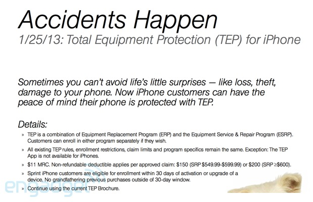 Sprint offering Total Equipment insurance for iPhone on January 25th