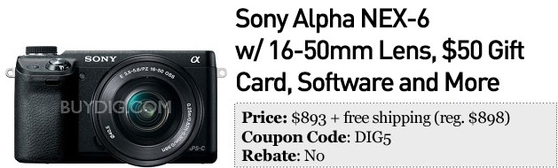 Slickdeals' best in tech for February 27th Sony NEX6 bundle and Klipsch Image E1 inears