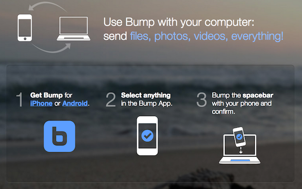 Bump app now allows file transfers between phone and computer