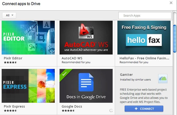 Google lets users add Driveenabled Chrome apps into the main UI