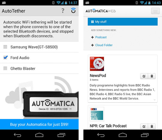 AutoTether gives Android and Automatica users an instant incar hotspot