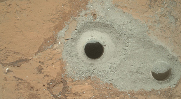 Curiosity rover drills into
