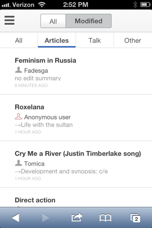 Wikipedia updates mobile web features