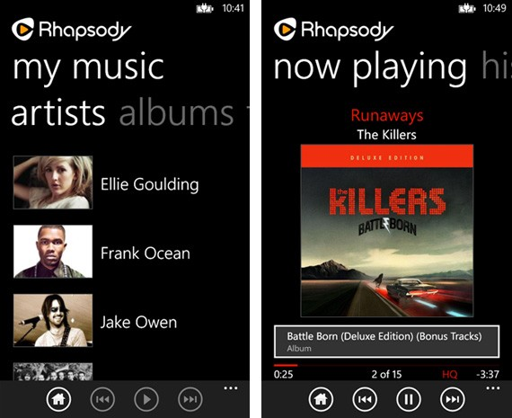 Rhapsody launches fresh Windows Phone 8 app for Spotify refuseniks