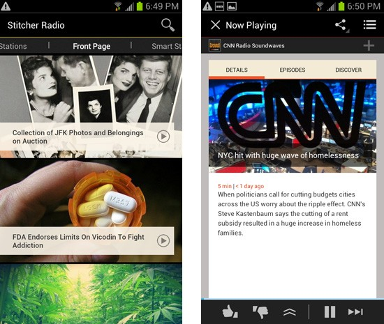 Stitcher overhauls its Android app to dovetail with Google's interface world
