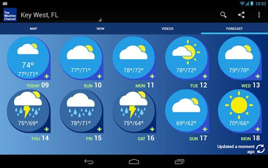Weather channel for android gets tablet optimization precise weather
