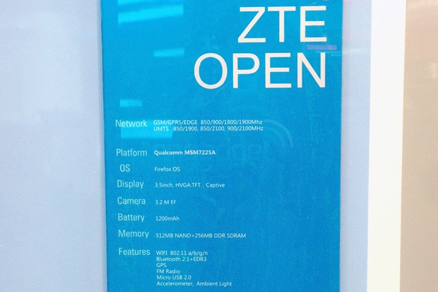 ZTE Open, the company\'s first Firefox OS phone, gets a spec sheet at MWC