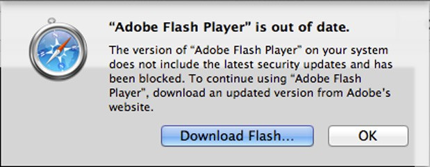 Safari blocking outdated Flash plugins due to security holes