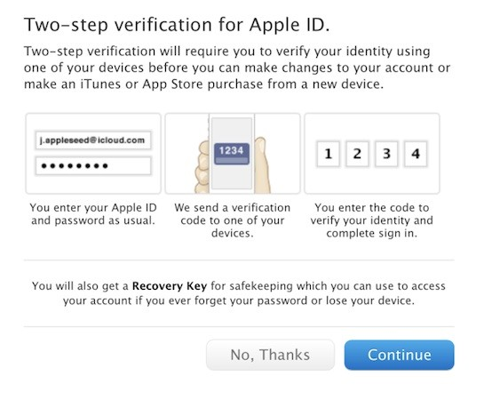 Apple brings twostep verification to iCloud and Apple ID users