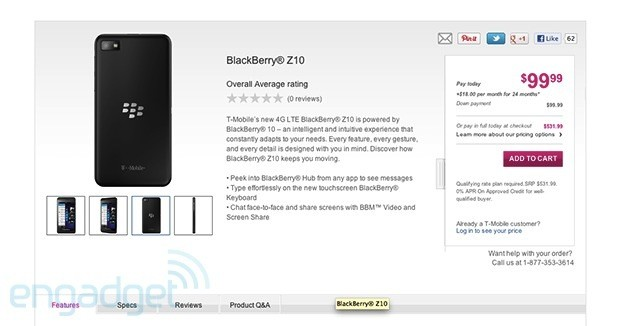 BlackBerry Z10 live on TMobile website $100 on contract or $532 up front