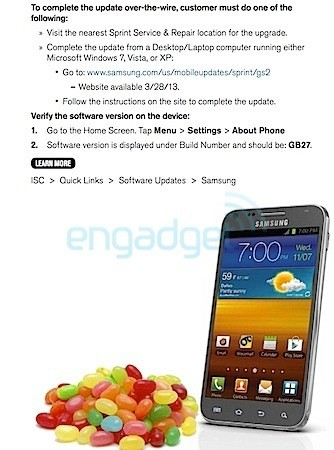 DNP Sprint Epic 4G Touch Jelly Bean update starts today