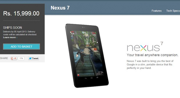 Google Play starts offering devices in India, starting with the Nexus 7