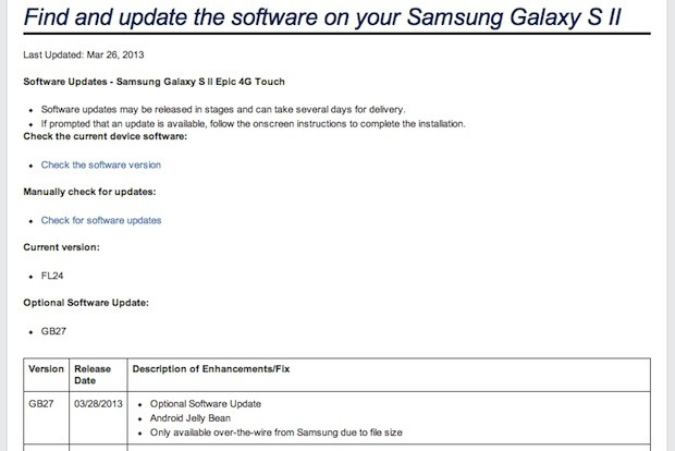 Sprint Epic 4G Touch will receive Android Jelly Bean update today update