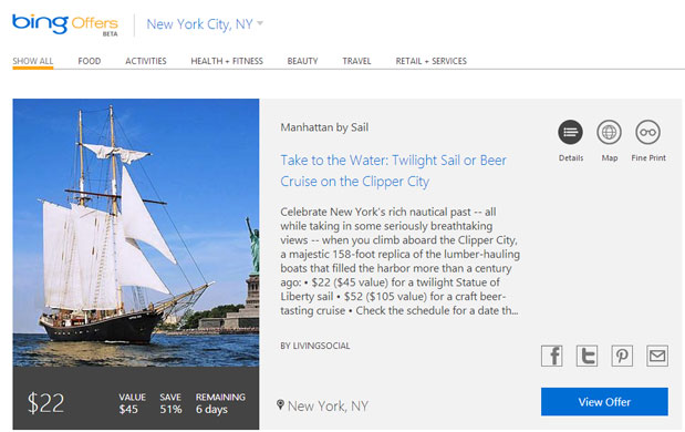 Microsoft launches Bing Offers to round up local bargains, gives Bing Deals the axe